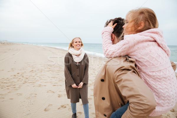 Foto stock: Retrato · jóvenes · familia · pequeño · hija