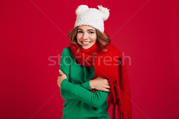Smiling brunette woman in sweater, funny hat and scarf Stock photo © deandrobot