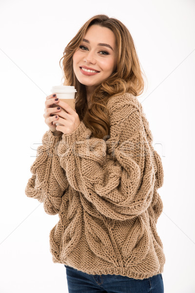 Sevimli bayan sıcak kazak içme kahve Stok fotoğraf © deandrobot