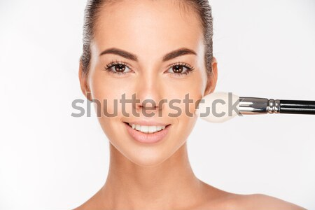 Beauty portrait of a cheery beautiful half naked woman Stock photo © deandrobot