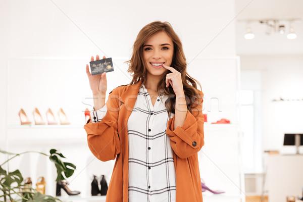 ストックフォト: 肖像 · 興奮した · 女性 · クレジットカード · 立って