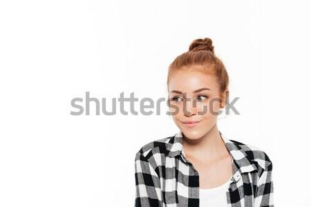 Közelkép kép mosolyog gyömbér nő póló Stock fotó © deandrobot