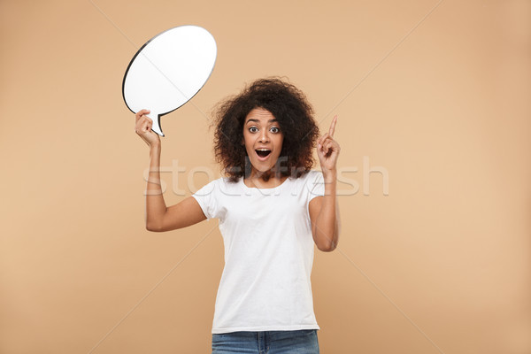 Portré izgatott fiatal afrikai nő portré nő Stock fotó © deandrobot
