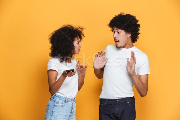 Portre genç afro amerikan çift tartışma Stok fotoğraf © deandrobot