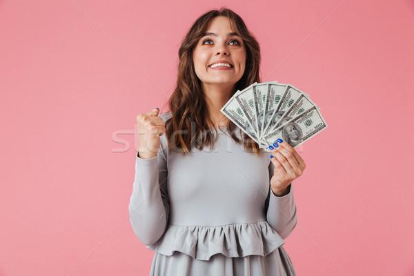 Portret vrolijk jong meisje geld bankbiljetten Stockfoto © deandrobot