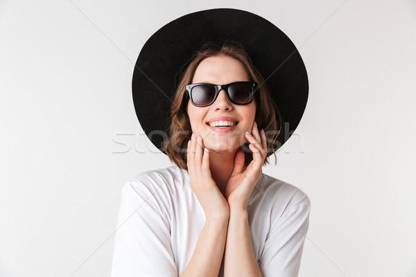 Stok fotoğraf: Portre · güzel · genç · kadın · siyah · şapka