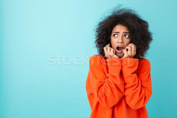 красочный изображение женщину вьющиеся волосы Сток-фото © deandrobot