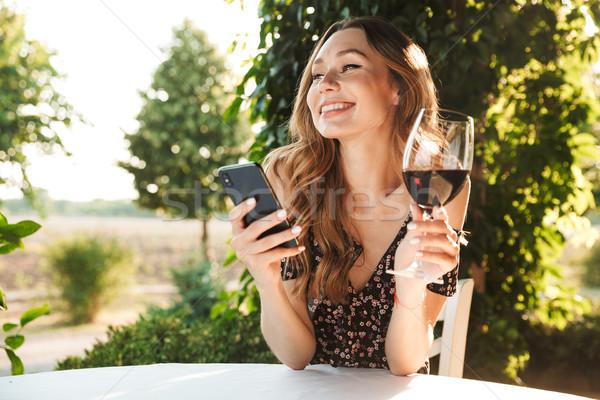 Dame vergadering cafe park drinken wijn Stockfoto © deandrobot