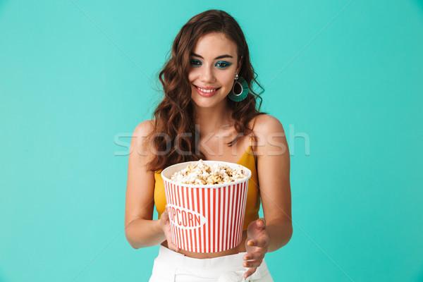 Photo brunette femme 20s Photo stock © deandrobot