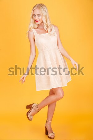 Full-length portrait of a happy woman on gray background Stock photo © deandrobot