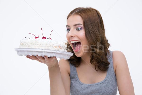 Portret piękna kobieta ciasto szary dziewczyna żywności Zdjęcia stock © deandrobot