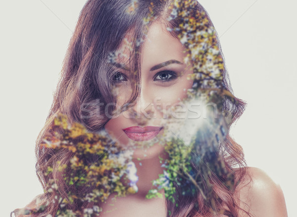 Double exposure of a beautiful girl and a tree Stock photo © deandrobot