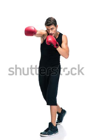 スポーツ 男 ボクシング 赤 手袋 ストックフォト © deandrobot