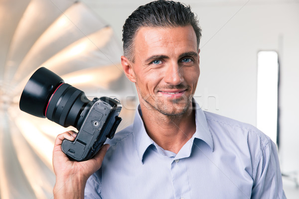 Mutlu fotoğrafçı kamera portre stüdyo Stok fotoğraf © deandrobot