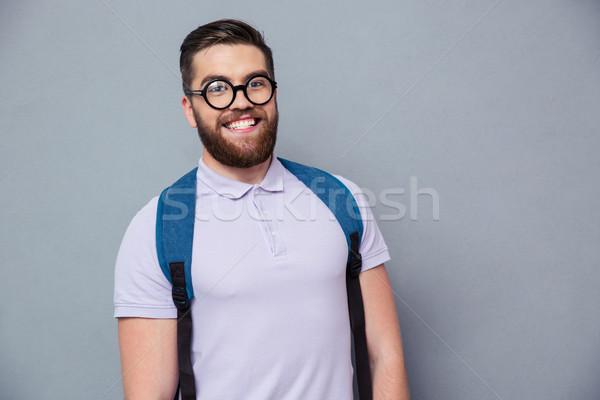 Heiter männlich nerd schauen Kamera Porträt Stock foto © deandrobot