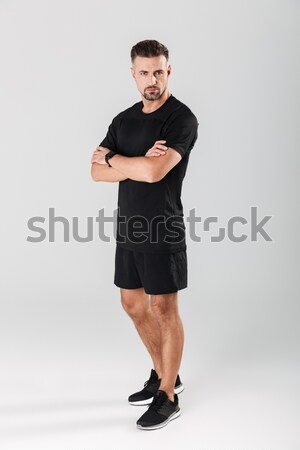 Zamyślony tłuszczu kobieta odzież sportowa Zdjęcia stock © deandrobot