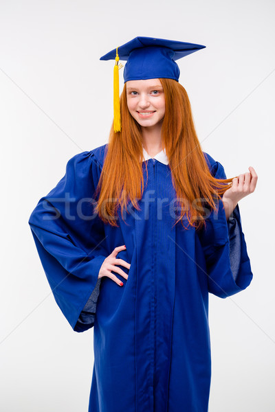 Güzel genç pozitif kadın mezuniyet kapak Stok fotoğraf © deandrobot