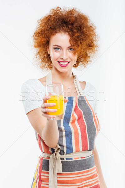 красивой счастливым женщину стекла свежие Сток-фото © deandrobot