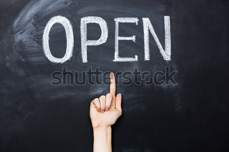 Hand pointing at open sign drawn on blackboard Stock photo © deandrobot