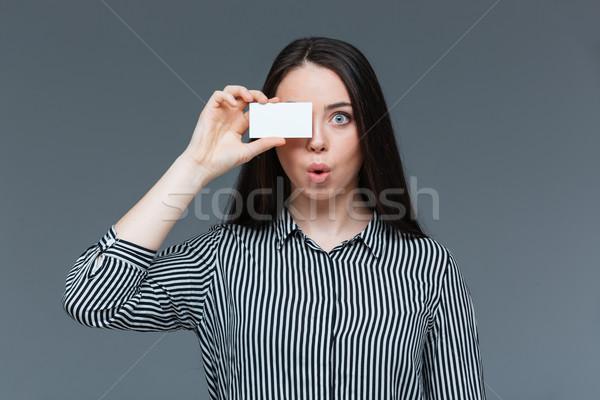 Komik kadın göz boş kart gri yüz Stok fotoğraf © deandrobot