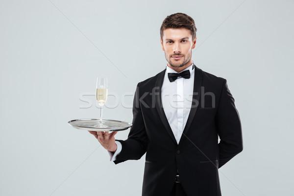 バトラー タキシード トレイ ガラス シャンパン ストックフォト © deandrobot