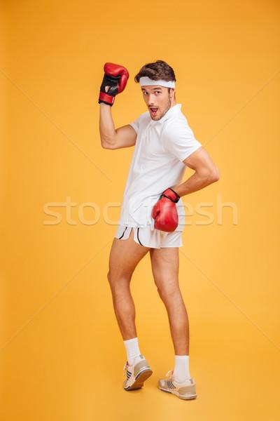 Vicces játékos férfi boxoló áll pózol Stock fotó © deandrobot