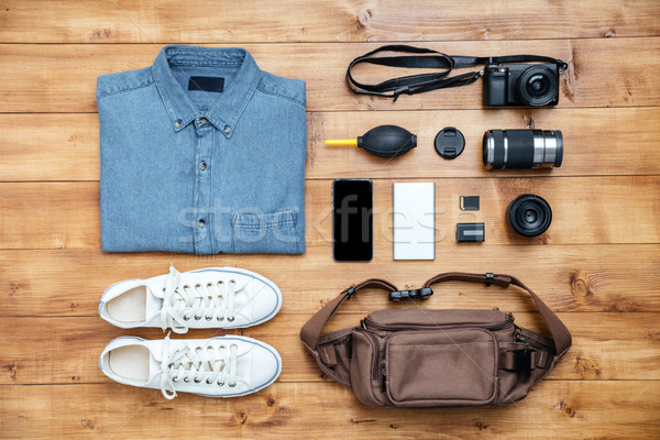 Travel concept shirt, camera, mobilephone, bag, mp3, boots, Stock photo © deandrobot
