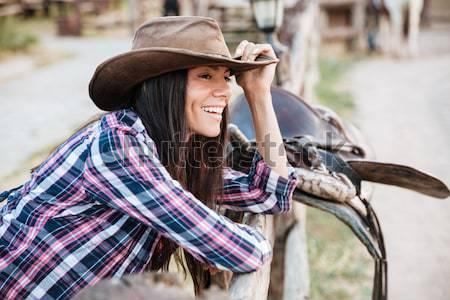 Femme souriant équitation cheval village Photo stock © deandrobot