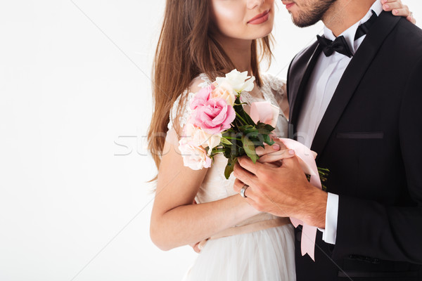 Cropped portrait of newlyweds Stock photo © deandrobot