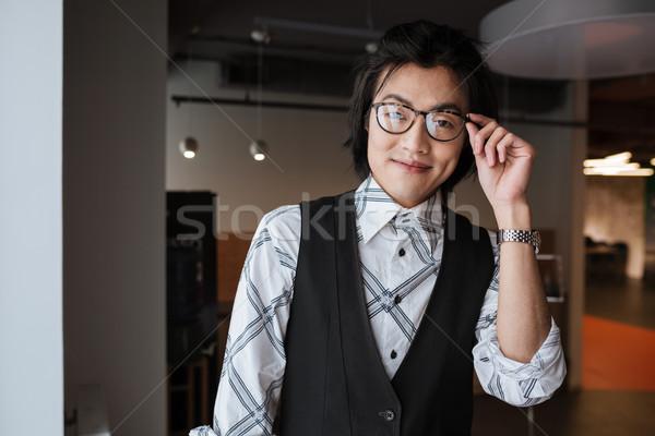 Photo stock: Heureux · jeunes · asian · homme · regarder · caméra
