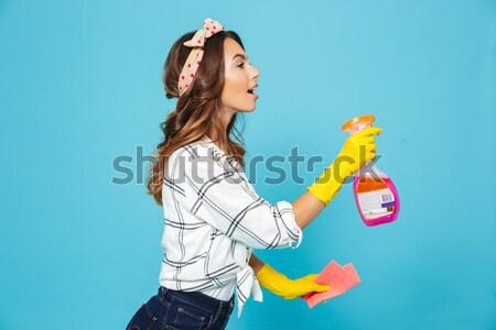 Portré mosolyog játékos lány nyár ruházat Stock fotó © deandrobot