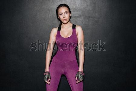 Stok fotoğraf: şaşırtıcı · spor · genç · bayan · ayakta · poz