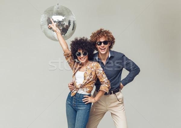 érzelmes mosolyog retro szerető pár tánc Stock fotó © deandrobot