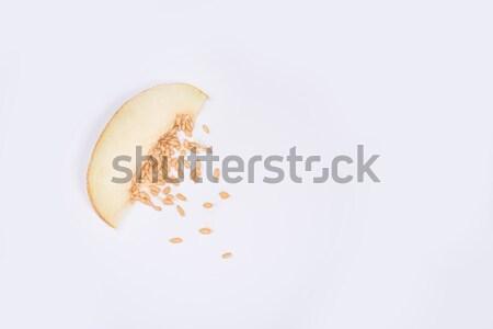 Lövés szelet dinnye kövek citromsárga izolált Stock fotó © deandrobot
