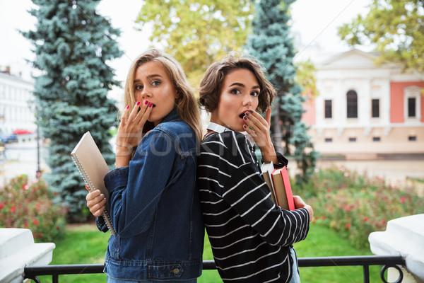 два удивленный молодые книгах Сток-фото © deandrobot