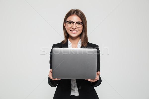 Stockfoto: Portret · jonge · aantrekkelijk · zakenvrouw · pak · bril