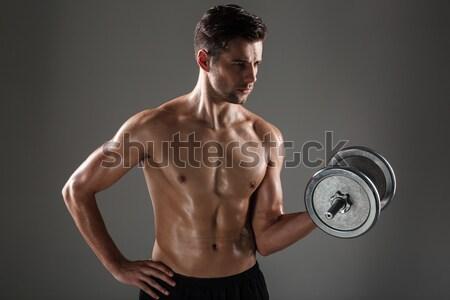 Top-less jóvenes hombre pesado Foto stock © deandrobot