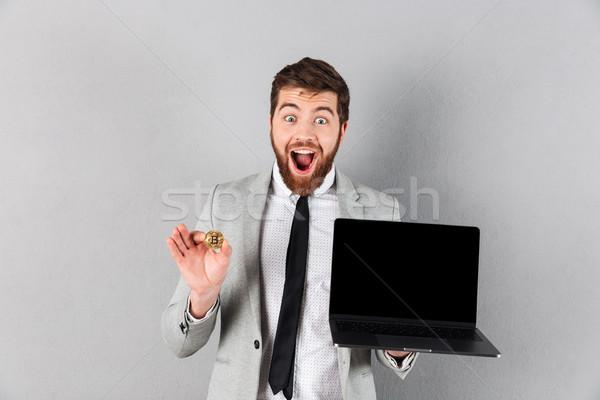 Retrato feliz empresario bitcoin Foto stock © deandrobot
