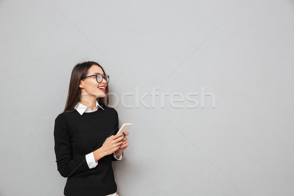 Feliz asiático mulher negócio roupa óculos Foto stock © deandrobot