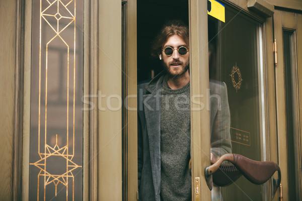 Portre şık sakallı adam kat dışarı Stok fotoğraf © deandrobot