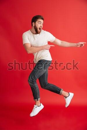 Foto stock: Retrato · feliz · animado · homem · tshirt