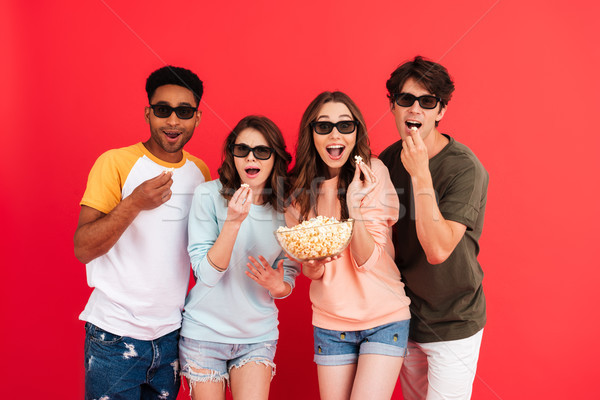 Portrait of a young happy group of multiracial friends Stock photo © deandrobot