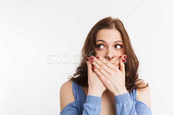 Portré meglepődött fiatal nő befogja száját kezek izolált Stock fotó © deandrobot