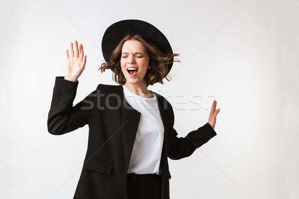 Retrato alegre negro chaqueta gafas de sol Foto stock © deandrobot