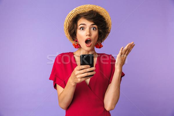 Geschokt mooie brunette vrouw jurk strohoed Stockfoto © deandrobot