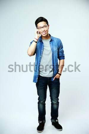 Foto stock: Retrato · jovem · asiático · homem · falante
