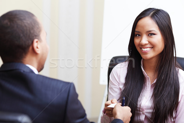 Closeup portrait of two successful business executive exchanging business card Stock photo © deandrobot