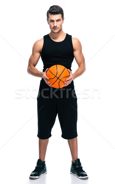 Handsome basketball player with ball Stock photo © deandrobot