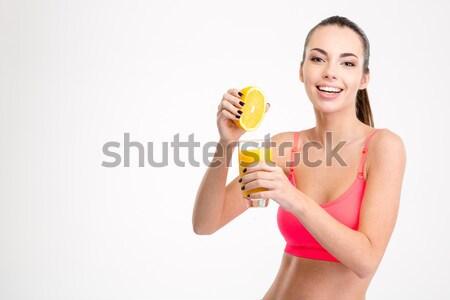 Mujer embarazada osito de peluche retrato aislado blanco Foto stock © deandrobot