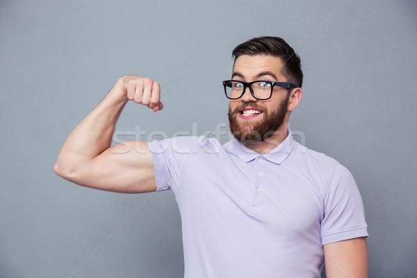 смешные человека очки мышцы портрет Сток-фото © deandrobot